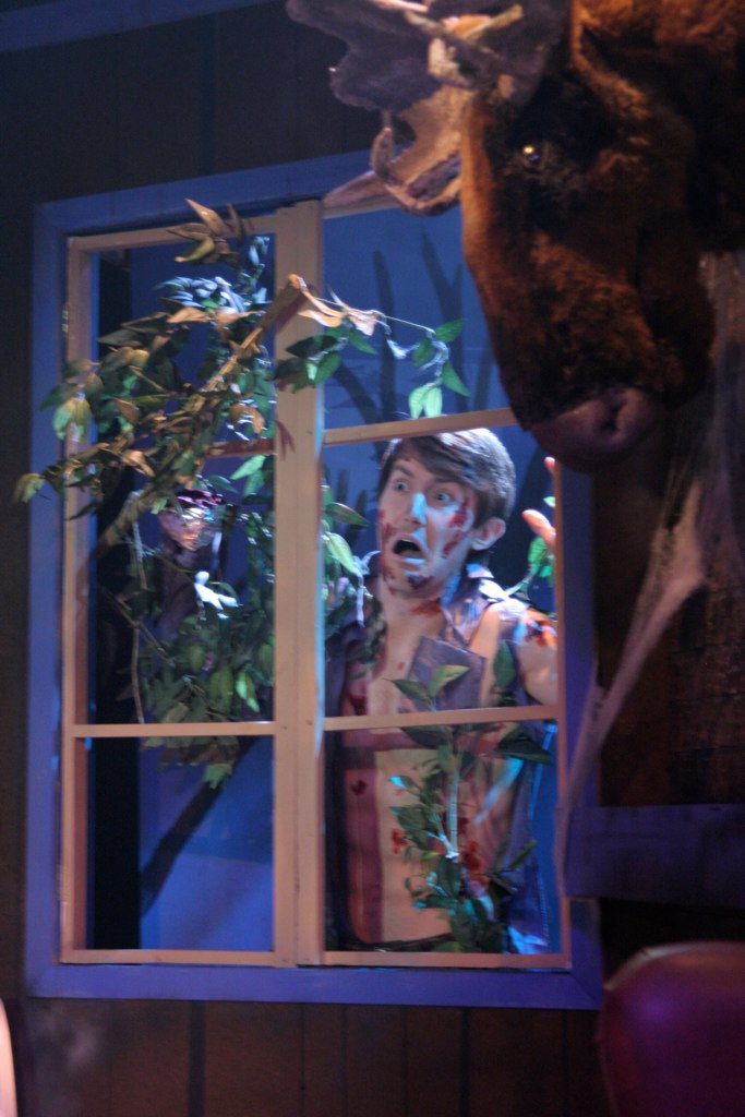 """Don't open the window! Toby Yatso in """"Evil Dead: The Musical"""" at Nearly Naked Theatre. (Photo by Jeff A. Davis)"""