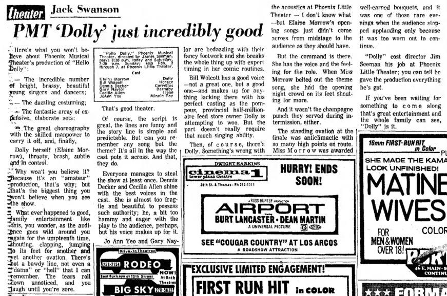 The Arizona Republic, Jan. 29, 1971. Review by Jack Swanson.