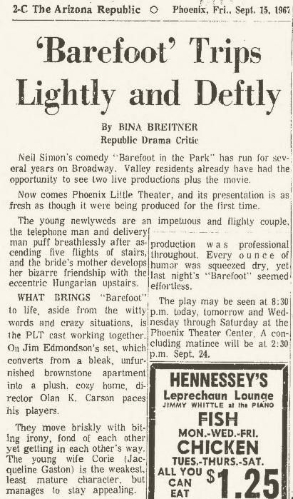Phoenix Theatre 1967 Barefoot in the Park Republic, Sept 15 a