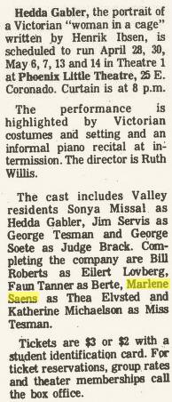 Phoenix Theatre, 1977 April, Hedda Gabler 001