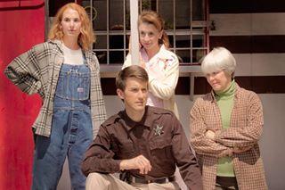 """The Spitfire Grill,"" 2011, at Phoenix Theatre. Pictured  to R: Trisha Hart Ditsworth as Percy, Toby Yatso as Joe, Jeannie Shubitz as Shelby and Barbara McBain as Hannah."