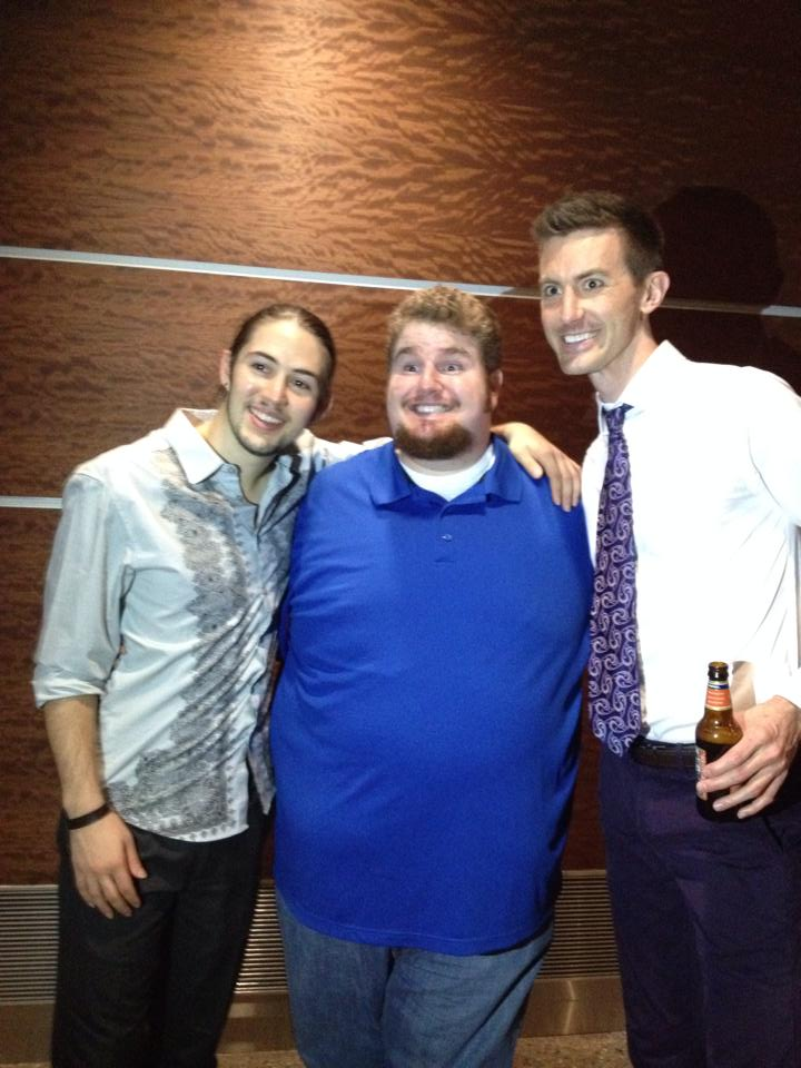 """Colin Ross, Pete Good and Toby Yatso relax after a performance of Phoenix Theatre's 2014 revival of """"Avenue Q."""" (Photo credit unavilable)"""