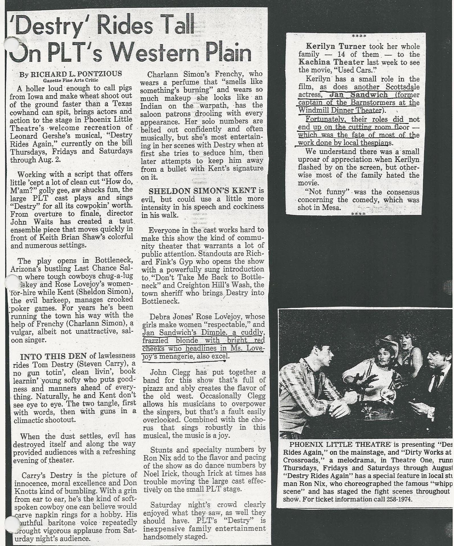 """Destry Rides Again"" was produced at Phoenix Little Theatre in 1980 (?) Clippings from the collection of Jan Sandwich."