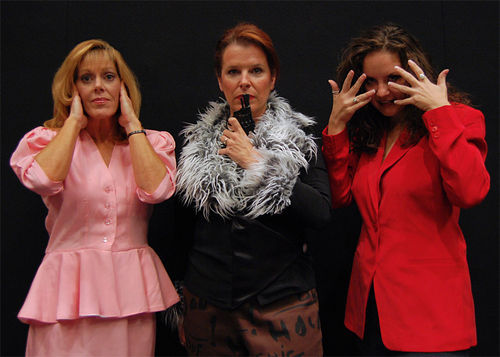 Robyn Allen (center) with Christi Sweeney and Heather Cambanes in Theater Works' 'The Smell of the Kill'. (Photo by Arthur Zatarski)