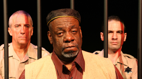 "Rod Ambrose (center), shown here with Walt Pedno and Todd Isaac in iTheatre Collaborative's ""The Exonerated,"" was another powerful stage actor who helped put BTT on the map."