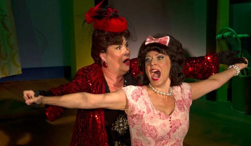 "Johanna Carlisle and Debby Rosenthal spread their wings in the 2013 Phoenix Theatre production of ""Ruthless: The Musical."" (Photo by Sara Chambers)"