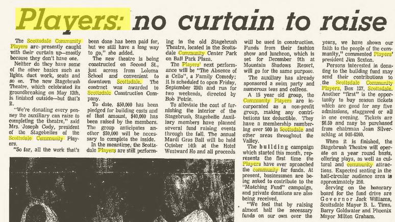 Scottsdale Community Players, Sept. 14, 1967 Scottsdale Progress