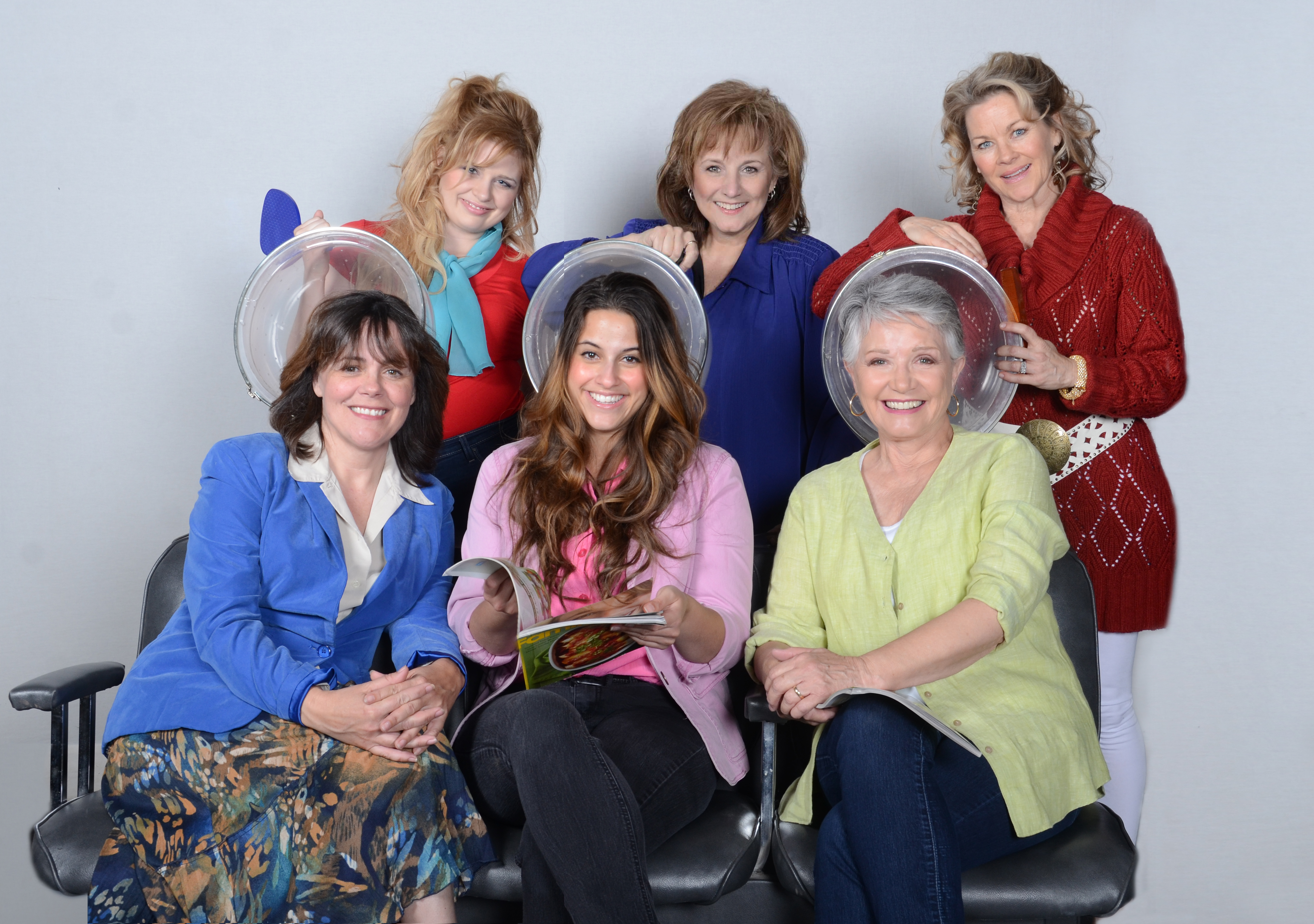 "Scottsdale Community Players, ""Steel Magnolias,"" 2013. L to R – Top Row Ashley Faulkner as Annelle, Laura Durant as Clairee, Jodie Weiss as Truvy; L to R – Bottom Row Maureen Dias Watson as M'Lynn, Jamie Sandomire as Shelby, Patti Davis Suarez as Ouiser. (Photo by Laura Durant)"