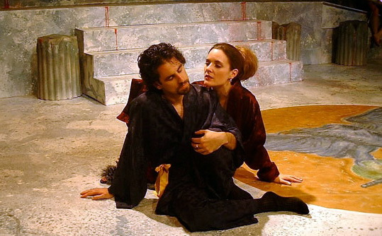 """Chris Williams and Maren Maclean in """"Titus Andronicus"""" at The Shakespeare Theatre, 2002. (Photo by Joel Goodwin)"""