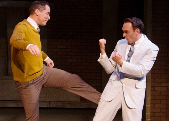 Ian Christensen, left, and Marshall Glass are in a fine bromance in Two Gentlemen of Verona. (Photo by Devon Adams)