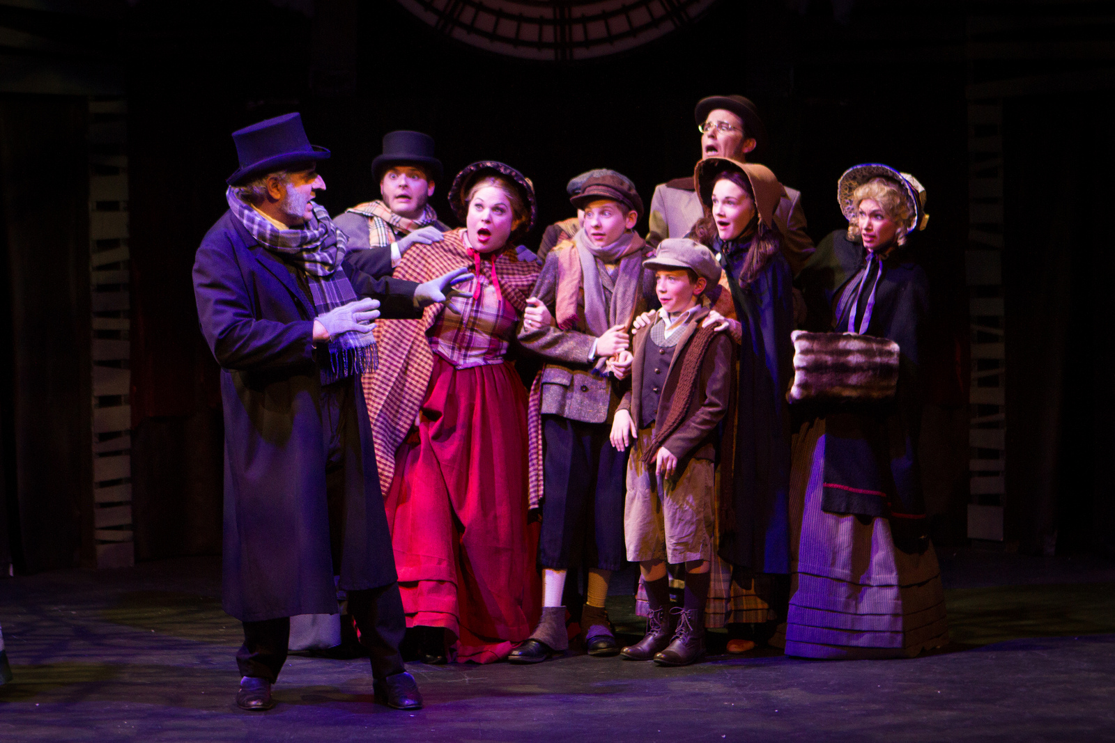"""The cast of the 2013 production of """"A Christmas Carol"""" at Southwest Shakespeare Company. (Photo by Devon C. Adams)"""