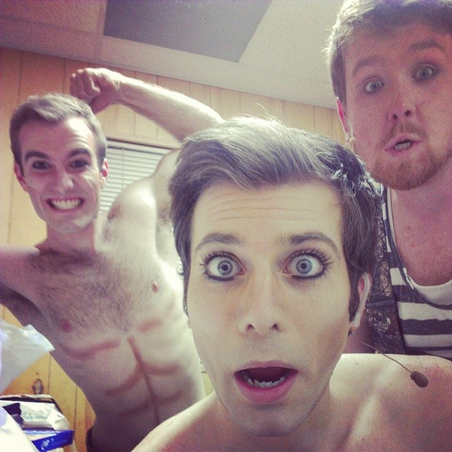 """Jeremiah James, Andy Cahoon and Alex Oliver experience the joys of makeup backstage at Southwest Shakespeare's 2014 production of """"Fairy Worlds,"""" an adaptation of """"A Midsummer Night's Dream"""" performed outdoors at the Desert Botanical Gardens. (Photo credit unknown)"""