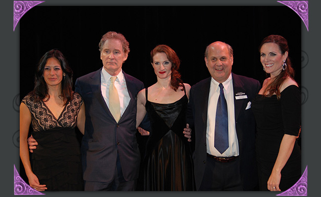 """Lana Buss, Kevin Kline, Justine Hartley and Jared Sakren at """"An Evening with Kevin Kline,"""" a fundraiser for Southwest Shakespeare Company, 2012. (Photo Credit Unknown)"""