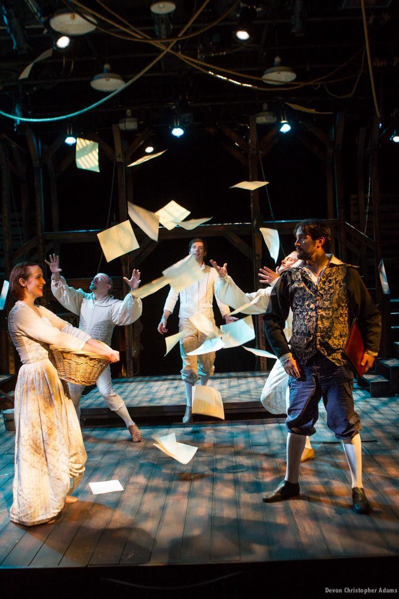 Southwest Shakespeare Company Equivocation Allison Astgen, Beau Hedkman, Andy Cahoon, Jesse James Kamps, Joseph Cannon. Photo by Devon Adams.