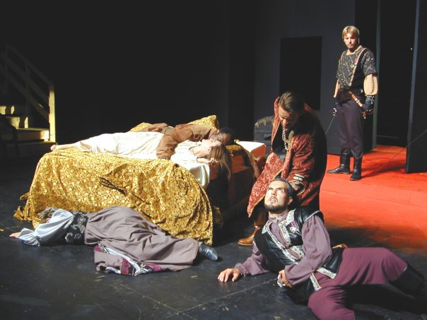 """It's almost as bad as the ending of """"Hamlet."""" The stage at Southwest Shakespeare's 2009 """"Othello"""" is littered with the grieving and the dead. Maren Maclean, Patti Davis Suarez, Ken Love, Andres Alcala, Matthew Proschold. (Photo by Maren Macleaqn)"""