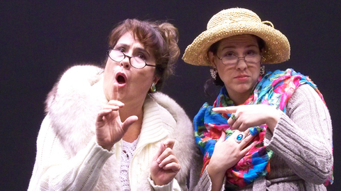 "Johanna Carlisle and Andrea Morales in Nearly Naked Theatre's 2012 production of ""Parallel Lives."" (Photo by John Grossclose.)"