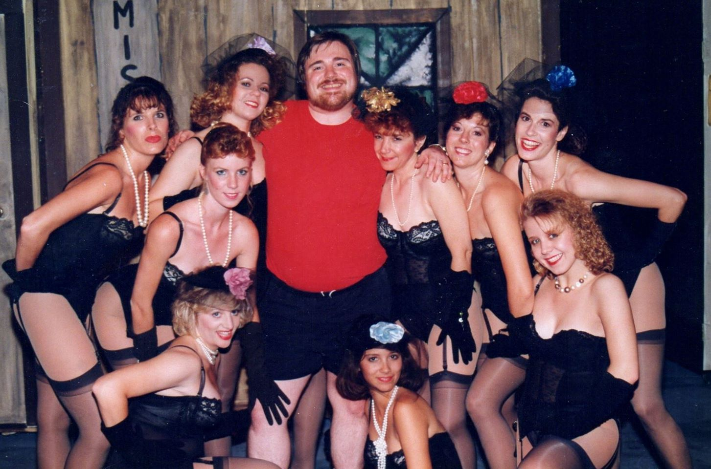 Guys and Dolls at Theater Works in 1990. Among those pictured, Robyn Allen, Wes Martin, Christine Lone, Tj Ronayne, Shawnna Pomeroy, Maryann Martin and Lauren Schieffer. (Photo credit unknown)