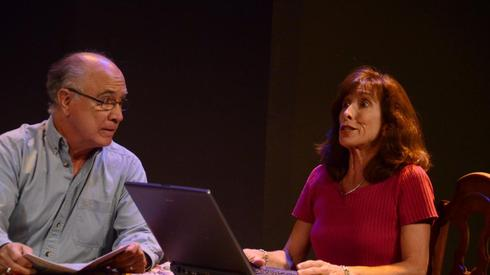 "Dan Peitzmeyer (left) and Susan Sindelar in the play ""Carrie & Hairy"" during the 2012 Summer Shorts event at Theatre Artists Studio. (Photo by Mark Gluckman.)"