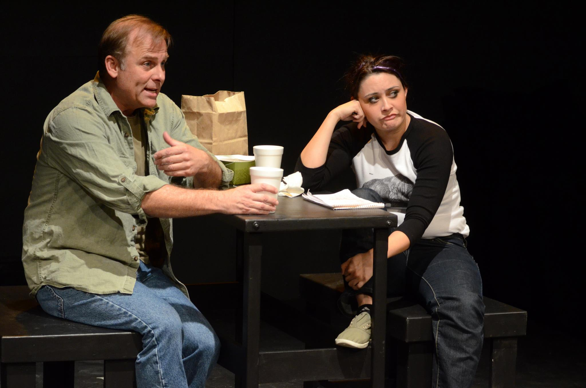 "Greg Lutz and Heidi Haggerty in Lee Blessing's ""Great Falls,"" directed by Judy Rollings for Theatre Artists Studio in 2013. (Photo by Mark Gluckman)"
