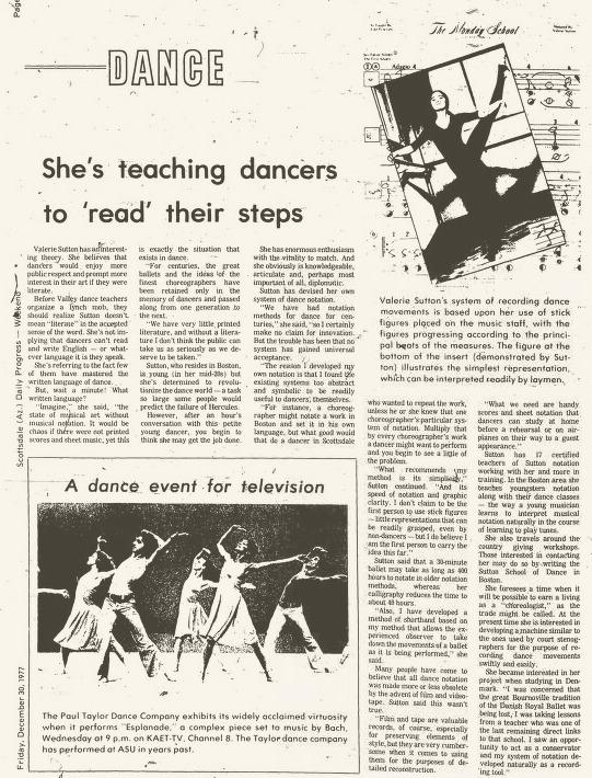 Valerie Sutton, Scottsdale Progress, Dec. 30, 1977