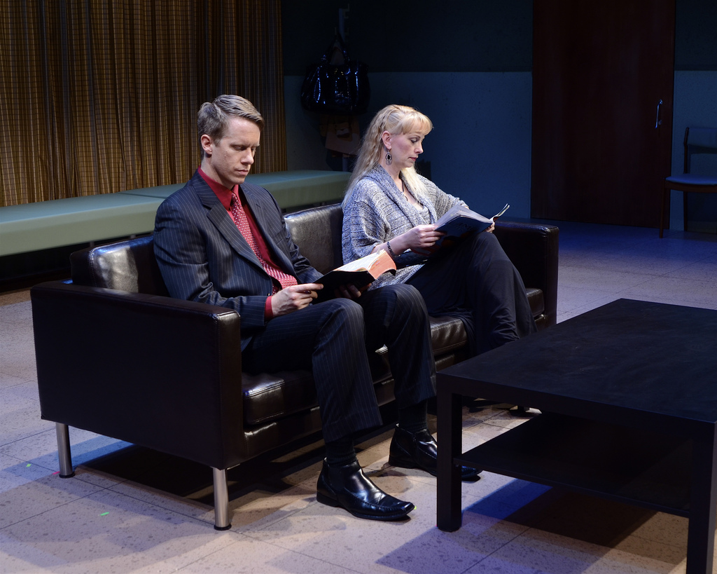 """David Dickinson and Andi Watson in the Actors Theatre production of """"Next Fall."""" (Photo by John Groseclose)"""