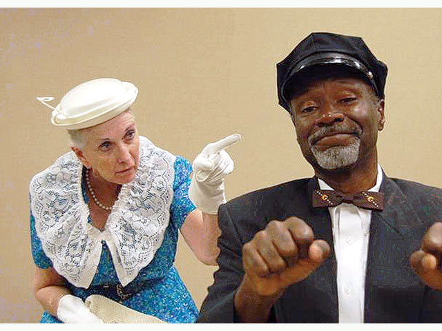 """Jacqueline Gaston and T.A. Burrows in """"Driving Miss Daisy'' at Algonquin Theatre in 2009. (Photo credit unknown)"""