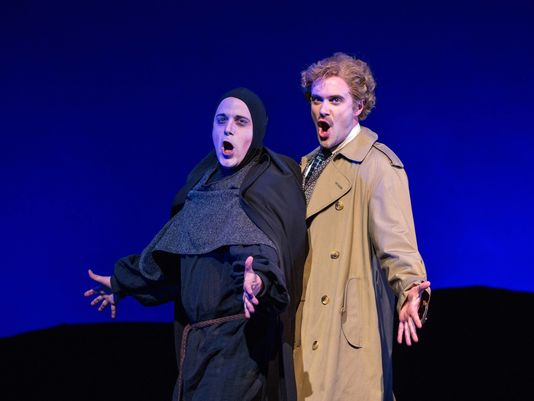 """Brad York is Igor and Kurtis W. Overby is Dr. Frankenstein in """"Young Frankenstein"""" at Arizona Broadway Theatre (Photo by Mike Benedetto)"""