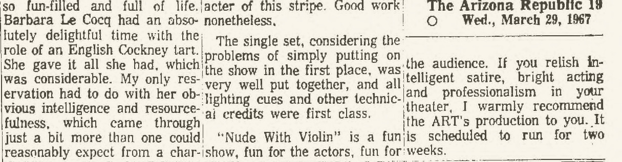 arizona repertory theatre nude with violin 001c Arizona Republic, March 29, 1967