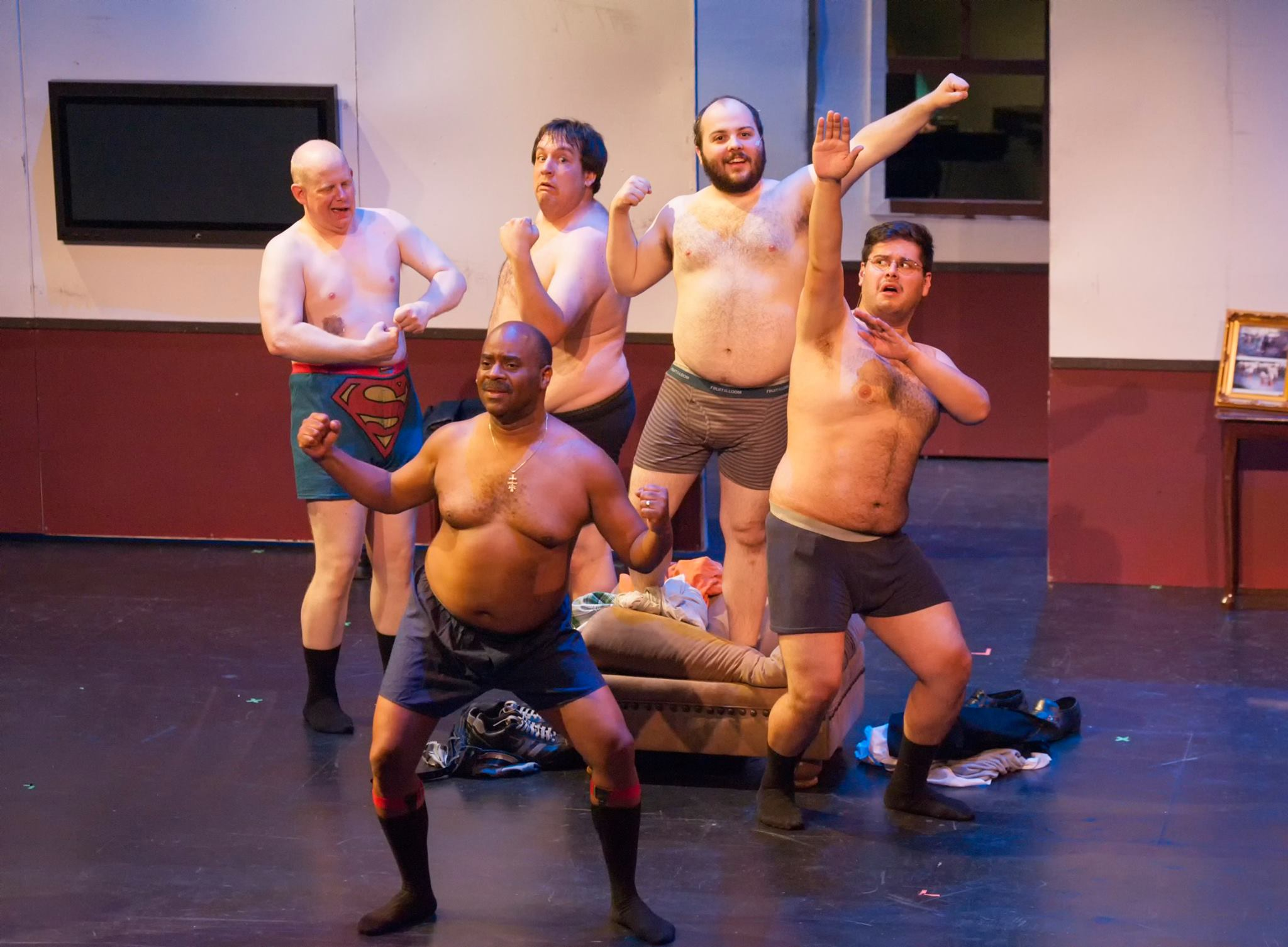"""Wade Moran's camera captures the boys in the raw (well, semi-raw). """"The Full Monty,"""" Mesa Encore Theatre, June 2014."""