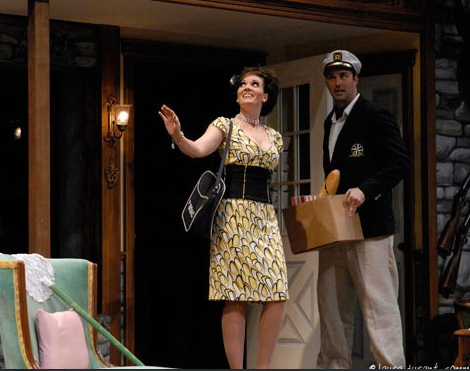 """Maren Maclean and Joseph Kremer in Phoenix Theatre's hit comedy, """"Noises Off."""" (Photo by Laura Durant)"""