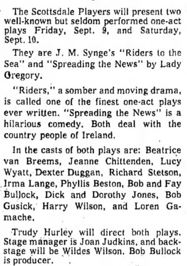 scottsdale community players 1960 one-acts