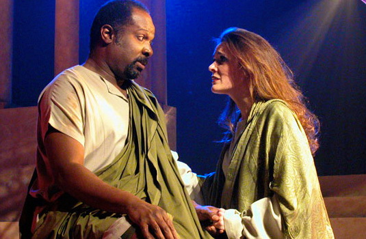 """Ken Love and Maren Maclean in """"Julius Caesar"""" at Southwest Shakespeare Company, 2002. (Photo by Laura Durant)"""