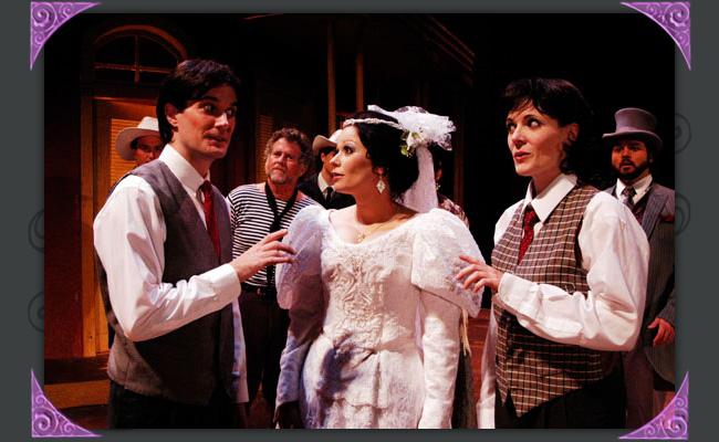 """Christian Miller, Sandy Elias, Jen Banda, Maren Maclean and Cale Epps in """"Twelfth Night,"""" Southwest Shakespeare Company, 2004. (Photo by Lauran Durant)"""