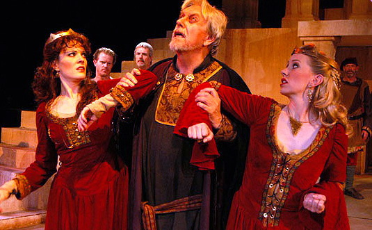 """Maren Maclean, Ken Ruta, Andi Watson (back row) Scott Dillon, Randy Messersmith and Charlie Bethel in Southwest Shakespeare Company's 2004 production of """"King Lear."""" (Photo by Laura Durant)"""