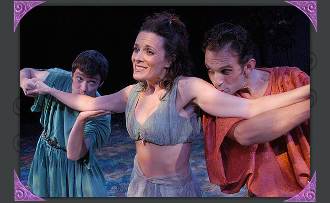 """Kyle Sorrell, Maren MacLean and Jason Barth are the young lovers in """"A Midsummer Night's Dream"""" at Southwest Shakespeare Company, 2005. (Photo by Laura Durant)"""