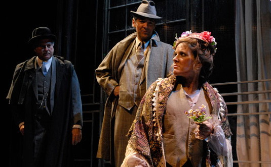 """Sandy Elias is Pickering, David Atkins is Higgins and Maren Maclean is Eliza in George Bernard Shaw's """"Pygmalion,"""" produced at Southwest Shakespeare Company in 2008."""