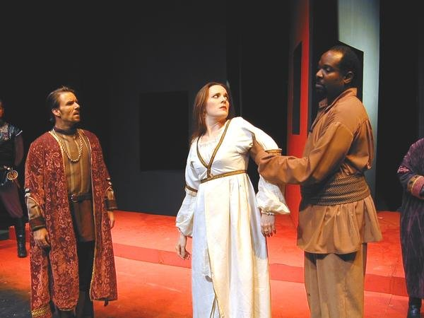 """Michael Sherwin, Maren MacLean and Ken Love in """"Othello,"""" 2009, Southwest Shakespeare Company. (Photo by Laura Durant)"""