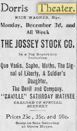 Dorris Theater Dec. 1, 1900