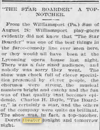 Dorris Theatre Dec 13, 1900