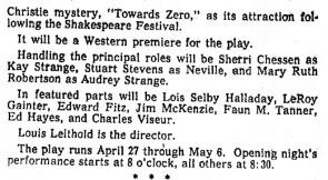 Phoenix Theatre 1961 Toward Zero (Republic, April 3, 1961)