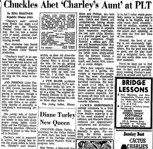 Phoenix Theatre, 1968, April, Charley's Aunt. 001