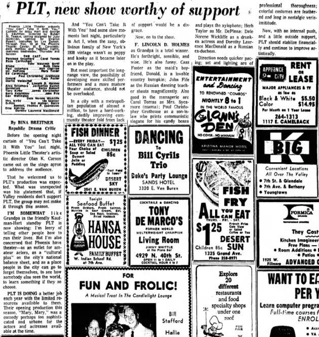 Phoenix Theatre 1968 Oct You Can't Take It With You