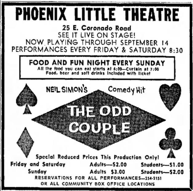 Phoenix Theatre, 1968, The Odd Couple 001