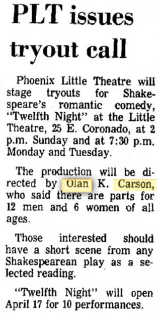Phoenix Theatre 1969 April Twelfth Night