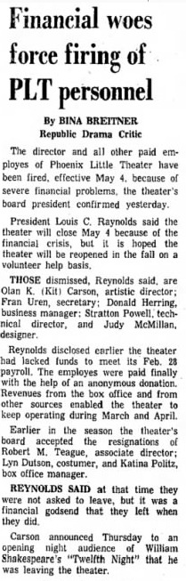 Phoenix Theatre 1969 april 19