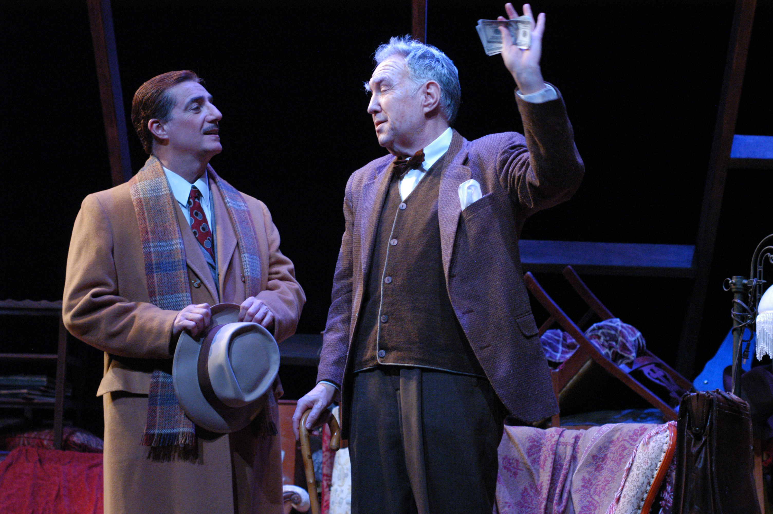 """Tony Hodges and Benjamin Stewart in """"The Price"""" for Arizona Theatre Company. (Photo by Mark Gluckman; lent to the website by Janet Arnold)"""