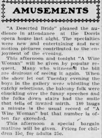 dorris theater dec 9, 1905