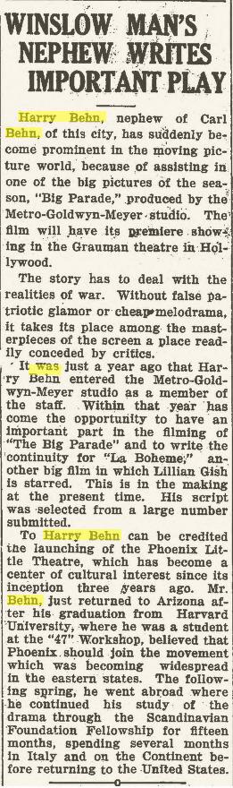 Winslow Mail, Oct. 16, 1925
