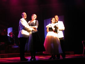 "Rusty Ferracane, Kristen Drathman, Natalie Charle Ellis and Nick Cartell in ""My Way"" at Phoenix Theatre."