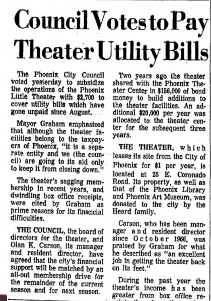 phoenix theatre utility bills 1